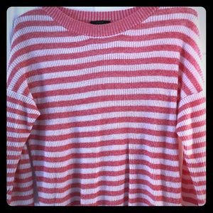 JCrew pink and white strip sweater